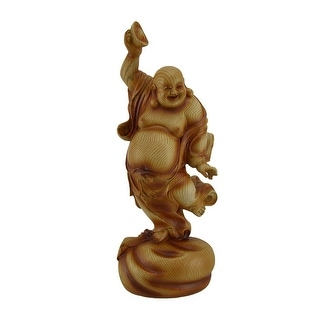 Happy Buddha Dancing On Wealth Bag Holding Bowl Wood Look Statue - Brown