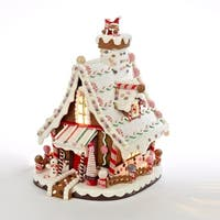 "12"" Lighted Candy-trimmed Gingerbread House Table Top Christmas Decoration - brown"