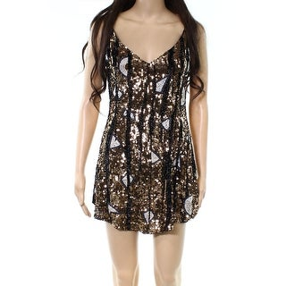 Free People Black Womens Sequin V-Neck Tunic Dress-