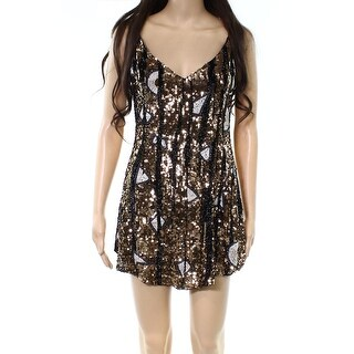 Free People Gold Womens Sequined V-Neck Tunic Dress