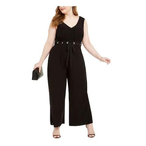 LOVE SQUARED Womens Black Sleeveless V Neck Evening Jumpsuit Size 1X