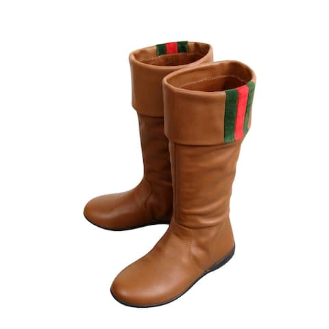 Gucci Kids Brown Leather Boots with Web Detail 285230