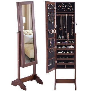 Costway Mirrored Jewelry Cabinet Armoire Storage Organizer Box w/ Stand Christmas Gift