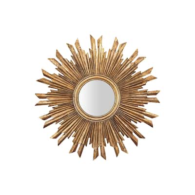 Gold Sunburst Mirror - Distressed Gold