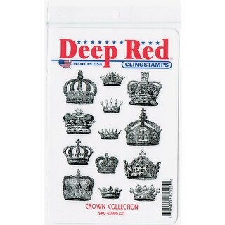 Deep Red Stamps Crown Collection Rubber Cling Stamp - 3 x 4
