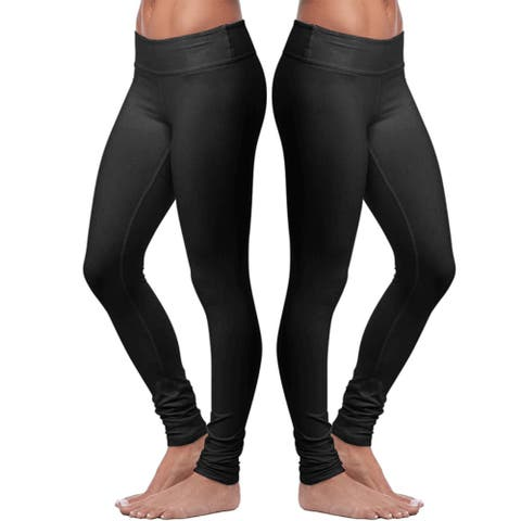 Women's Cotton Stretch Black Leggings - 2 Pack - Full Length - Soft Slim Fit