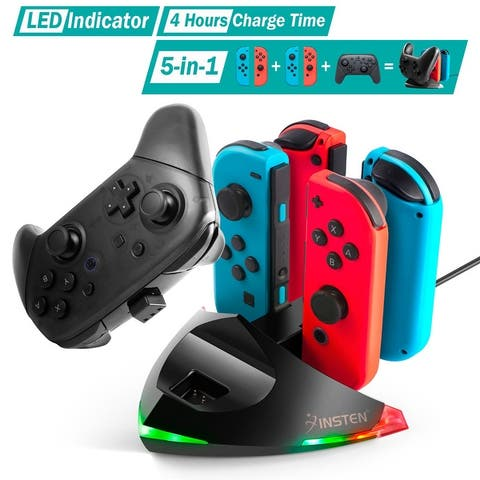 5-in-1 Charging Station with LED Indicator for Nintendo Switch Joy-cons and Pro Controller - Black