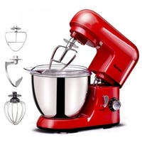 Costway Electric Food Stand Mixer 6 Speed 4.3Qt 550W Tilt-Head Stainless Steel Bowl - Red