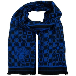 Versace VHB0292 005 Geometric Pattern Electric Blue 100% Wool Mens' Scarf