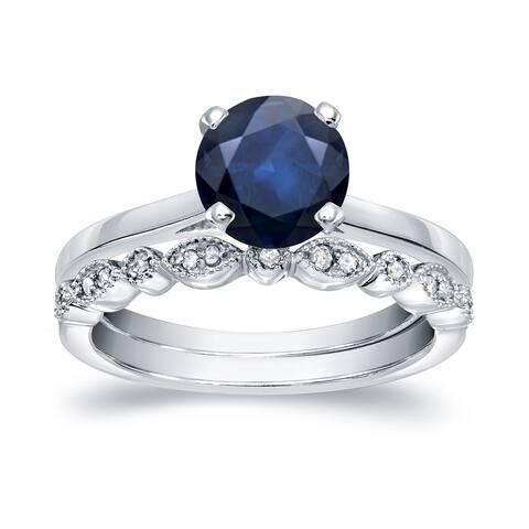 Auriya 14k Gold 1ctw Vintage Solitaire Sapphire Engagement Ring Set 1/6ctw
