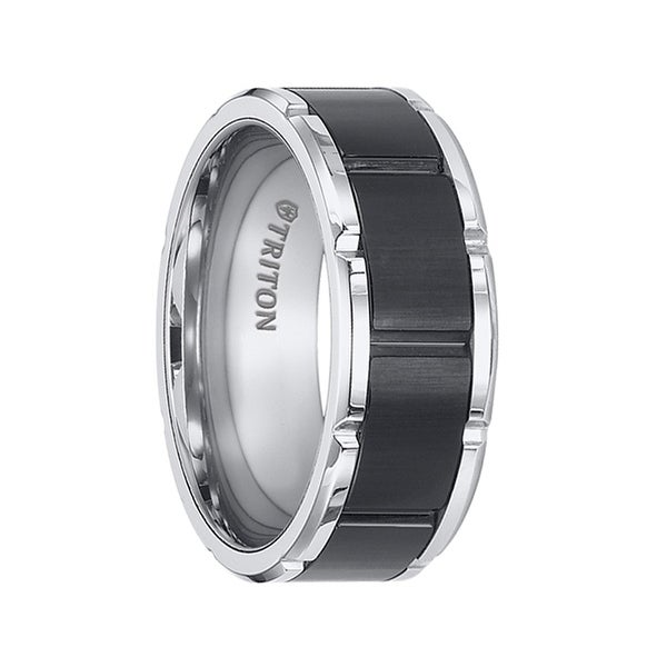 KONRAD Tungsten Carbide Brushed Black Finished Center with Alternating Vertical Grooves Ring with by Triton Rings - 8.5 mm