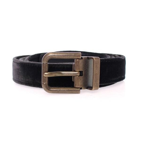 Dolce & Gabbana Black Viscose Logo Belt