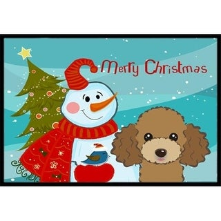 Carolines Treasures BB1876MAT Snowman With Chocolate Brown Poodle Indoor & Outdoor Mat 18 x 27 in.