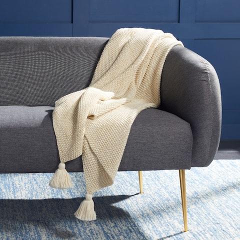 SAFAVIEH Mari Beige/ Gold 50 x 60-inch Throw Blanket