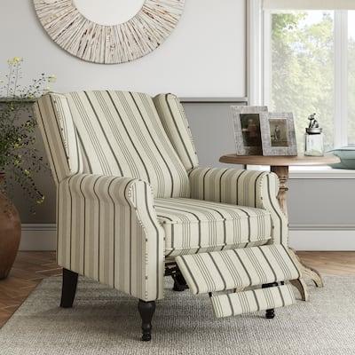 The Gray Barn Hale Linen Farmhouse Woven Stripe Wingback Push Back Recliner Chair