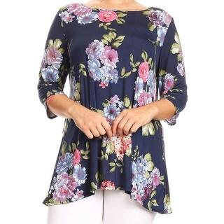 Women Plus Size Floral Print Round Neck Tunic Knit Top Tee Navy