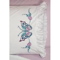 "Large Butterfly - Stamped Ruffled Edge Pillowcases 30""X20"" 2/Pkg"