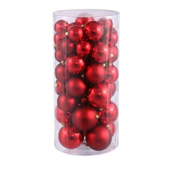 "50ct Red Hot Shiny & Matte Shatterproof Christmas Ball Ornaments 2.4""-3""-4"""