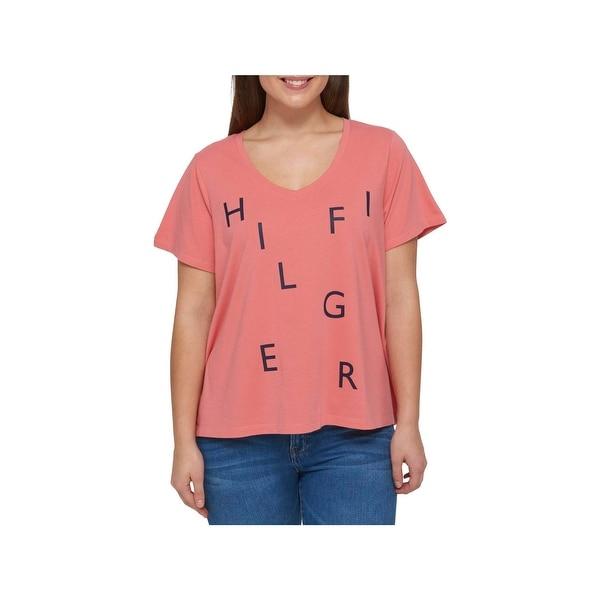 a0a241d3 Shop Tommy Hilfiger Womens Plus T-Shirt Graphic V-Neck - Free ...