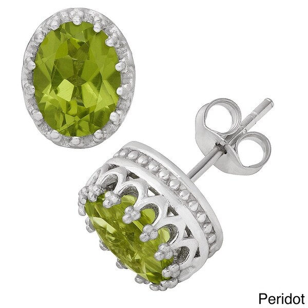 Gioelli Tiara Collection Sterling Silver 8x6mm Oval Gemstone Crown Earrings. Opens flyout.