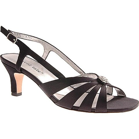 David Tate Women's Rosette Slingback Black Satin