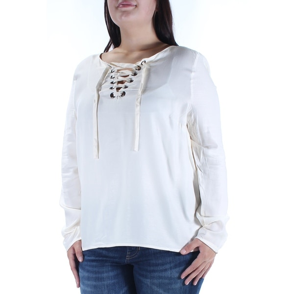 82aa1061d9f Shop KENSIE Womens Ivory Tie Long Sleeve Jewel Neck Top Size: XL - Free  Shipping On Orders Over $45 - Overstock - 21237953
