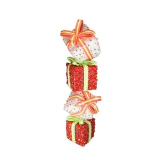 """45"""" Lighted Sparkling Red & White Tinsel Candy Gift Box Tower Christmas Yard Art Decoration"""