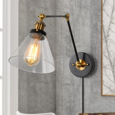 Industrial Swing Arm Sconces Clear Glass Wall Light for Bedroom Living Room