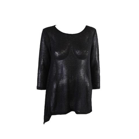 Alfani Black Metallic 3/4-Sleeve Crew Nec Pullover Tunic S