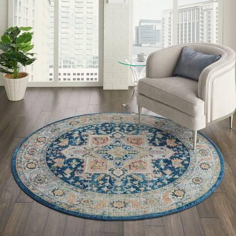 Porch & Den Grimmett Vintage Blue/Multicolor Persian Area Rug