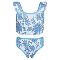 Sun Emporium Girls Blue Paisley Moroccan Print 2 Pc Bikini Set