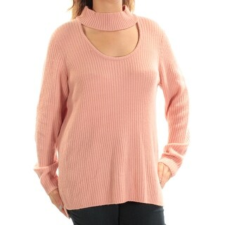 KENSIE Womens Pink Cut Out Long Sleeve Turtle Neck Sweater Size: L