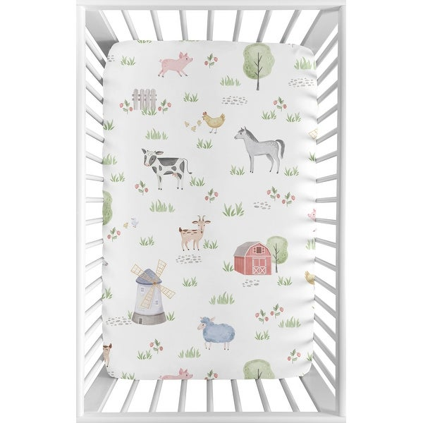 Farm Animals Baby Boy or Girl Fitted Mini Portable Crib Sheet For Pack and Play - Watercolor Farmhouse Horse Cow Sheep Pig. Opens flyout.