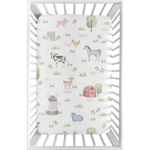 Farm Animals Baby Boy or Girl Fitted Mini Portable Crib Sheet For Pack and Play - Watercolor Farmhouse Horse Cow Sheep Pig
