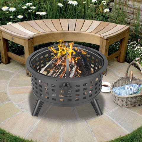 "26"" Round Patio Wood Burning Heater Bowl Fire Pit"