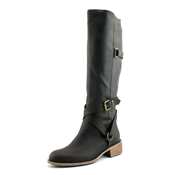 Charles David Germana Women Round Toe Leather Brown Knee High Boot
