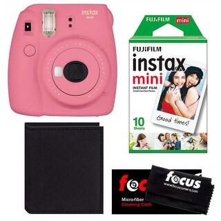 Fujifilm Instax Mini 9 (Flamingo Pink) Instant Camera w/ Accessory Bundle