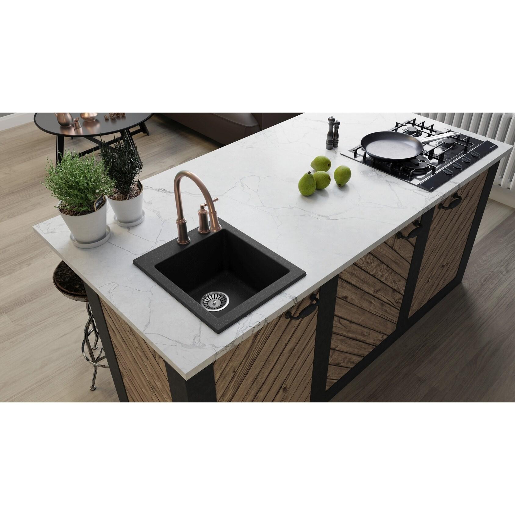 Lavello Granite Composite 16 Drop In Single Bowl Kitchen Sink Notte 1 Hole On Sale Overstock 30997683 Black Metallic