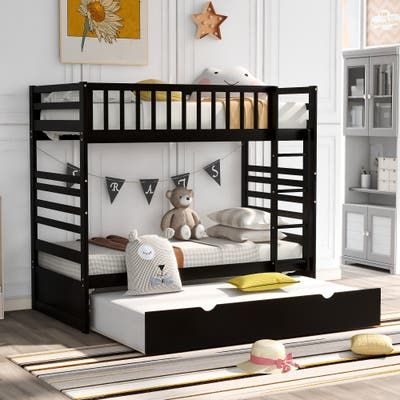Twin Bunk Bed for Kids with Safety Rail and Movable Trundle Bed, Espresso
