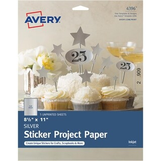Avery Silver Full-Sheet Sticker Project Paper, 8-1/2 x 11, 5 Sheets (4396)