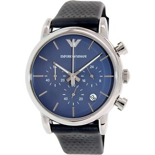 Emporio Armani Men's Classic Blue Leather Japanese Quartz Fashion Watch