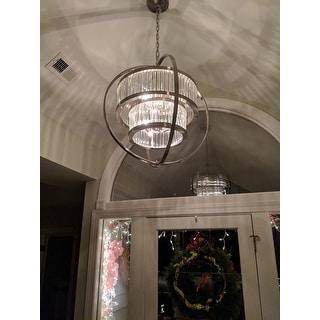 Brushed Nickel Crystal Orb 6-light Chandelier