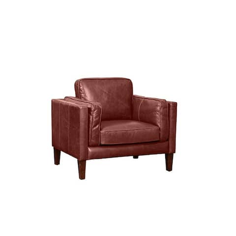 Strick & Bolton Prue Brown Leather Arm Chair