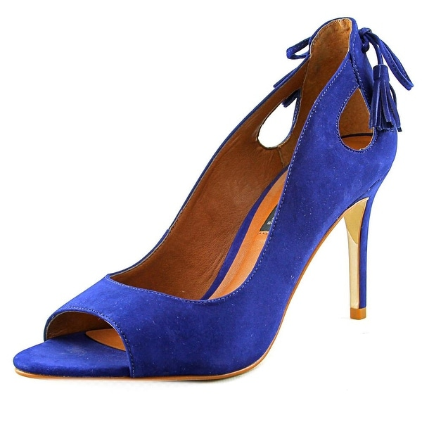 Steven Steve Madden Tracee Women Open-Toe Leather Blue Heels