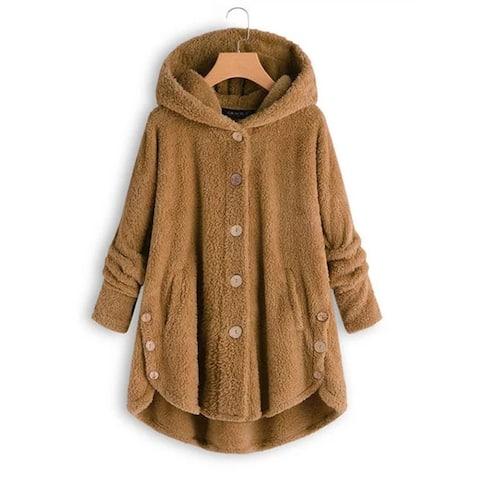Cozy Hooded Teddy Coat With Asymmetrical Hem