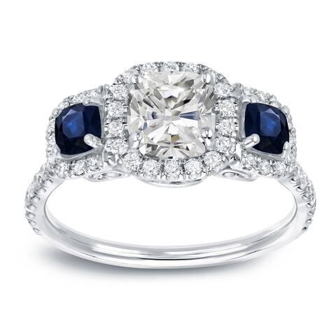 Auriya 14k Gold 1 1/2cttw Cushion-cut 3-Stone Diamond and Sapphire Engagement Ring
