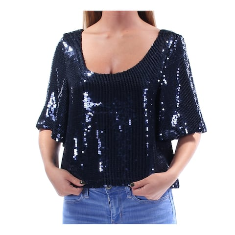 FREE PEOPLE Womens Navy Low Back Sequined Short Sleeve Scoop Neck Blouse Evening Top Size: M
