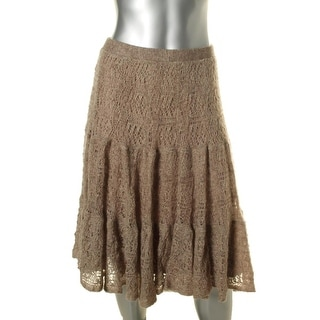 Lauren Ralph Lauren Womens Wool Blend Pointelle Knit Maxi Skirt