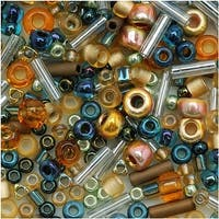 Toho Multi-Shape Glass Beads 'Raiden' Gold/Green/Blue Color Mix 8 Gram Tube