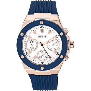 Link to Guess Woman's GW0030L5 Athena chronograph Watch With Blue Silicone Strap - One Size Similar Items in Men's Watches